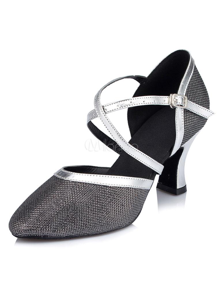 Zapatos de bailes latinos de tela brillante Color liso euTNx