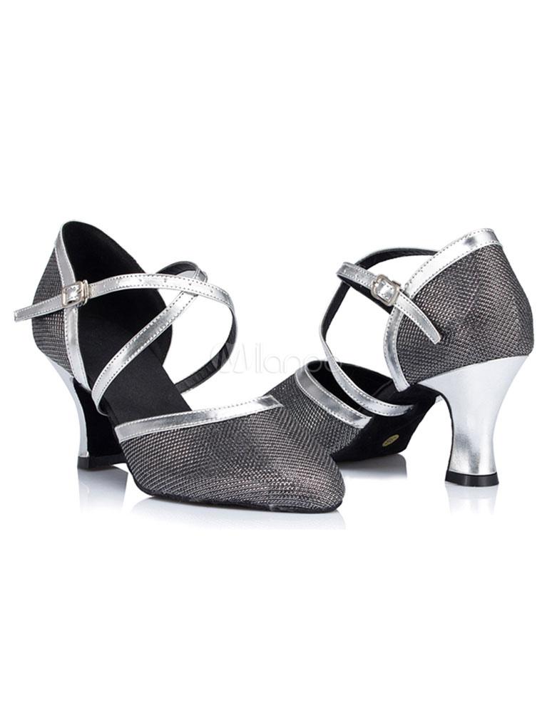 Zapatos de bailes latinos de tela brillante Color liso JdeWToM