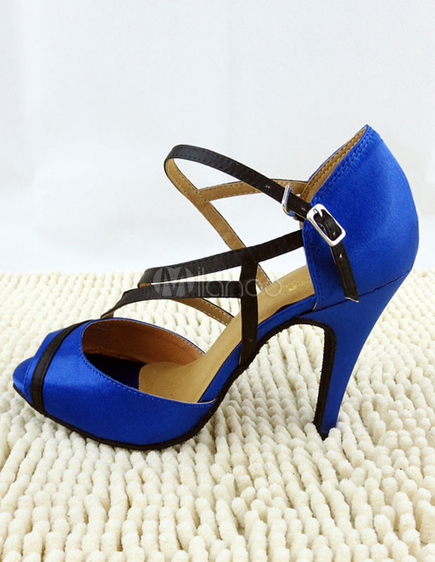 Milanoo / Blue Ballroom Shoes Peep Toe Satin Heels Sandals Women's Dance Shoes With Strap