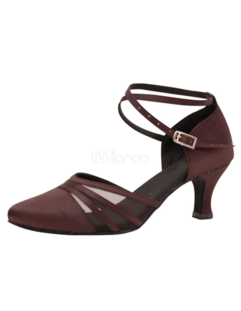 Women's Ballroom Shoes High Heel Brown Buckle Strap Adjustable Pointed Toe Dance Shoes