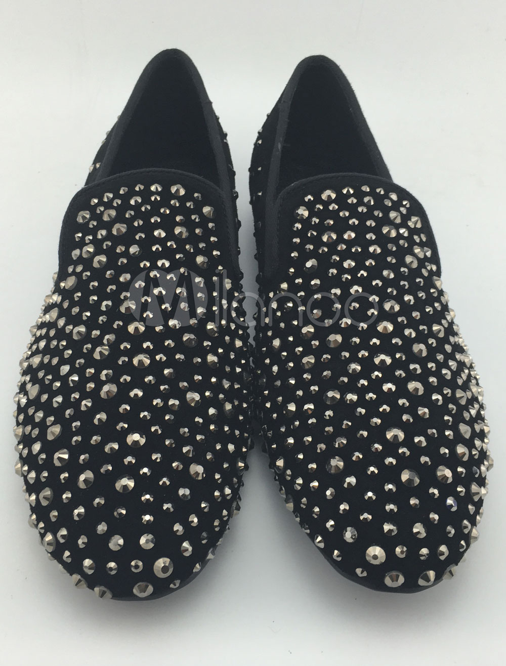 Black Men Loafers Suede Round Toe Beaded Slip On Formal Shoes