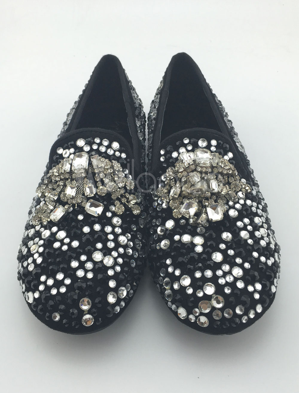 Buy Suede Men's Loafers Crystal Studs Flat Shoes Rhinestones Black Slip On Shoes for $116.99 in Milanoo store