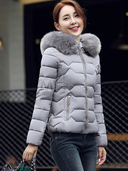 9474a58d6 Women Puffer Jacket Faux Fur Hooded Short Quilted Coat For Winter