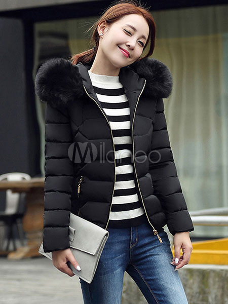 Women'S Puffer Jacket Faux Fur Hooded Short Quilted Coat For ...