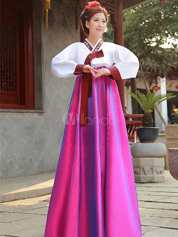 Buy Halloween Korean Costume Traditional Women's Satin Hanbok Dress for $26.99 in Milanoo store