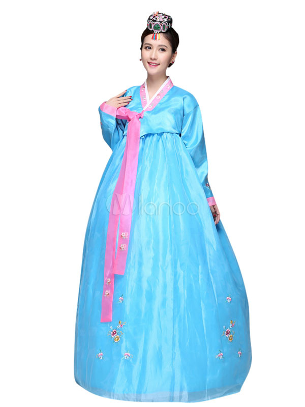 Buy Halloween Korean Costume Ancient Women's Satin Stage Hanbok Dress for $60.99 in Milanoo store