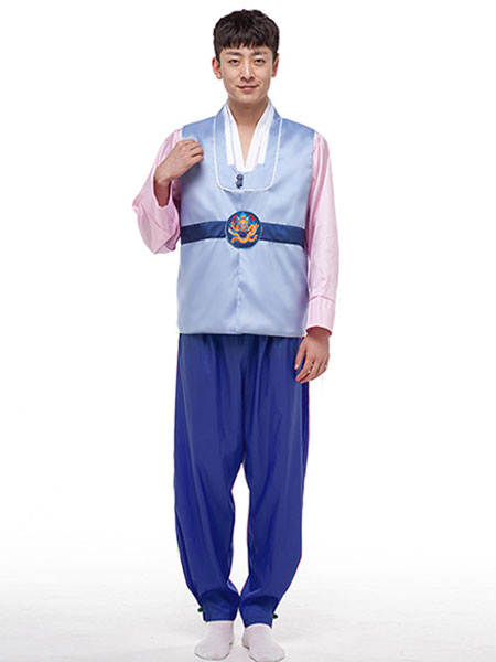 Buy Men's Korean Costume Hanbok Holloween Costume Outfit Traditional Korean Minority Clothing Top Pants Set for $33.29 in Milanoo store
