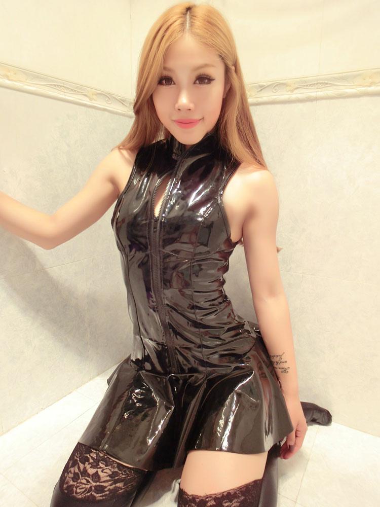 Halloween Catsuit Costume Black Shiny Sleeveless Slim Fit Skater Dress For Women Halloween