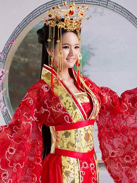 Halloween Chinese Costume Fancy Dress Red Traditional Empress Dress ...
