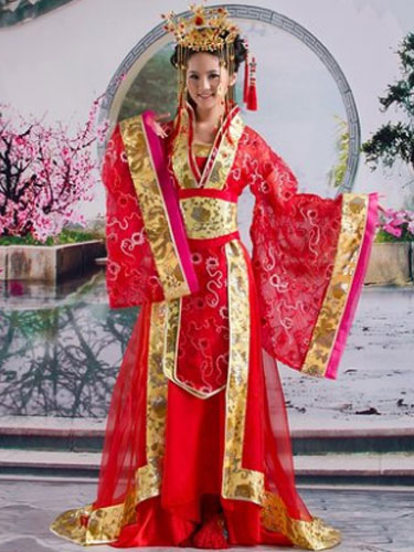 Halloween Chinese Costume Fancy Dress Red Traditional Empress Dress Set In 3 Piece
