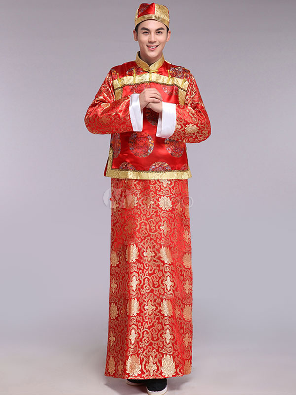Buy Halloween Chinese Costume Fancy Party Dress Red Traditional Emperor Prince Baylor Satin Gown Set In 3 Piece for $59.39 in Milanoo store