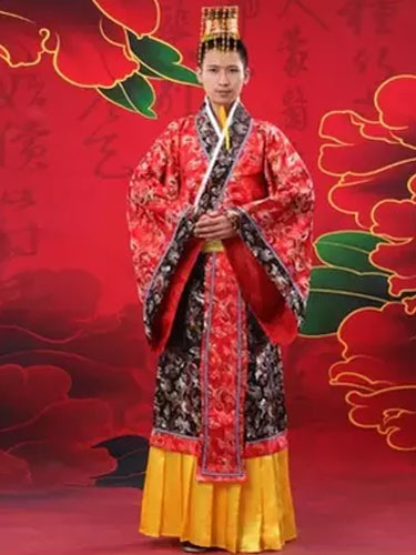 Buy Halloween Chinese Costume Fancy Dress Imperial Robe Ancient Costume Empress Red Satin Gown Set In 3 Piece for $53.99 in Milanoo store