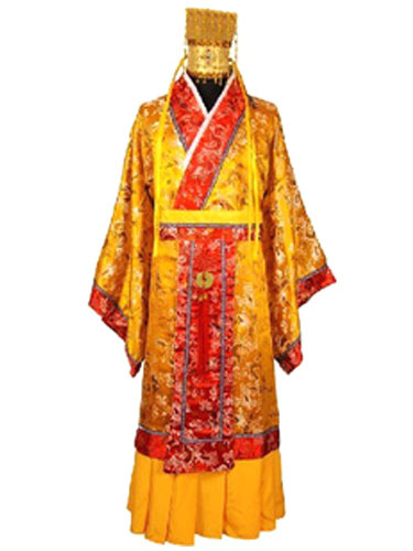 Buy Halloween Chinese Costume Fancy Dress Imperial Robe Ancient Empress Dragon Satin Gown Set In 3 Piece for $53.99 in Milanoo store
