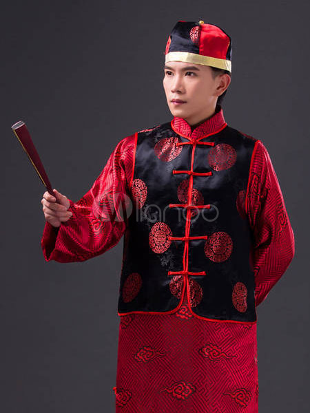 5d1b0dbf98e5c ... Halloween Chinese Costume Fancy Party Dress Red Ancient Emperor Prince  Baylor Cloud Gown Set In 3 ...