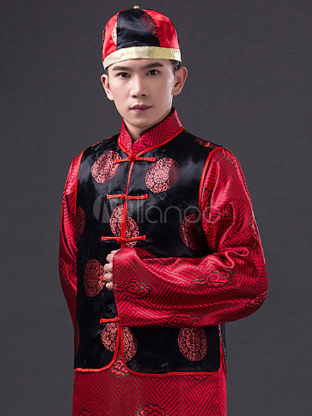 6a2b9c342a36c ... Halloween Chinese Costume Fancy Party Dress Red Ancient Emperor Prince  Baylor Cloud Gown Set In 3