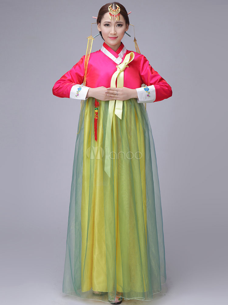 Buy Halloween Korean Costume Fancy Dress Traditional Women's A-line Tulle Maxi Dress Set for $94.99 in Milanoo store