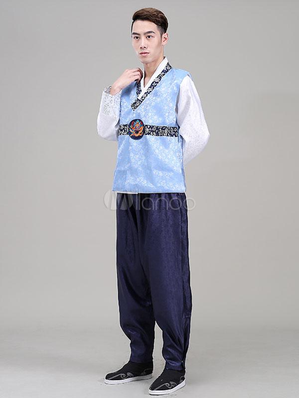 Halloween Korean Costume Fancy Dress Traditional Men's Satin Loose Pants Set In 3 Piece