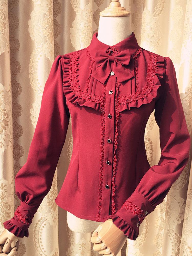 Sweet Lolita Blouse Red Long Sleeve Turndown Collar Bow Ruffled Winter Lolita Shirt
