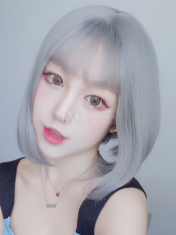 Buy Straight Lolita Wig Shoulder Length Tousled Light Gray Faux Wigs With Bang for $21.59 in Milanoo store