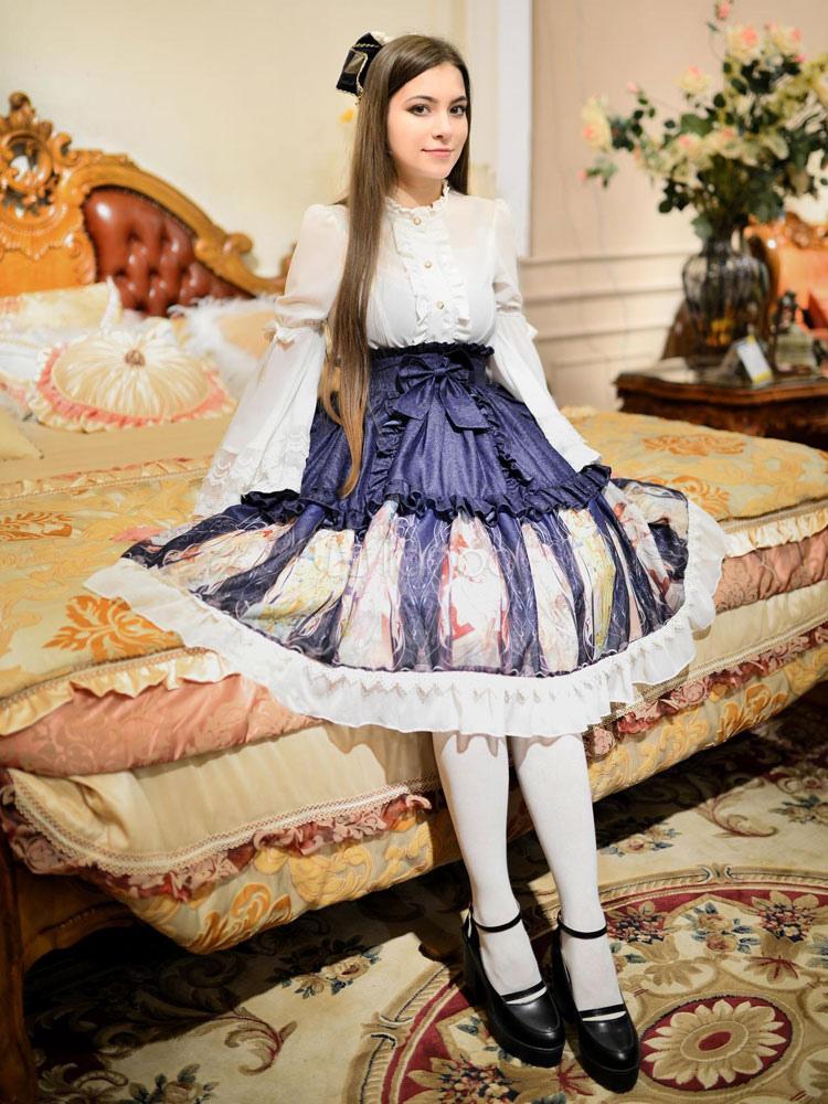 Sweet Lolita Dress SK Late Summer Burgeoning Fall Print Chiffon Ruffled Lace Up Lolita Skirt
