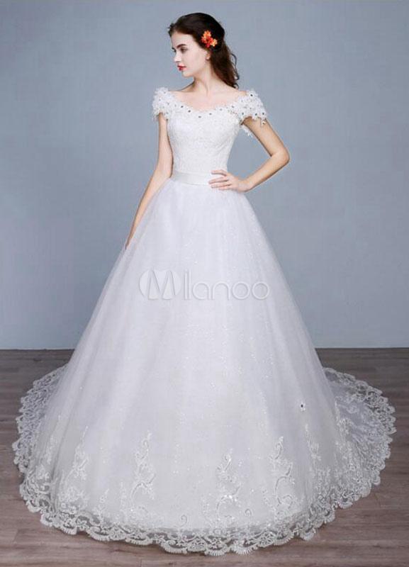 Milanoo / Princess Wedding Dress Off The Shoulder Backless Lace Sequins A Line Lace Up Bridal Dress