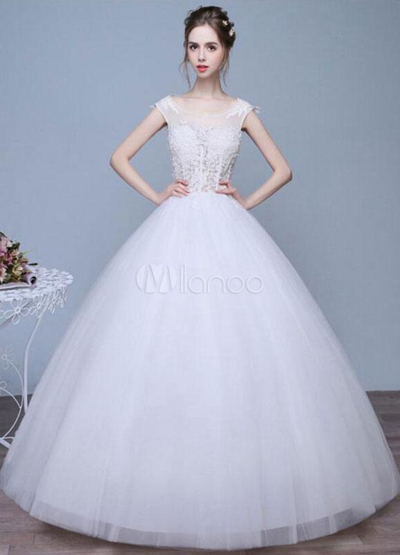 Lace Wedding Dress Plus Size Bridal Gown A Line Illusion Neck Open Back Floor Length Bridal Dress