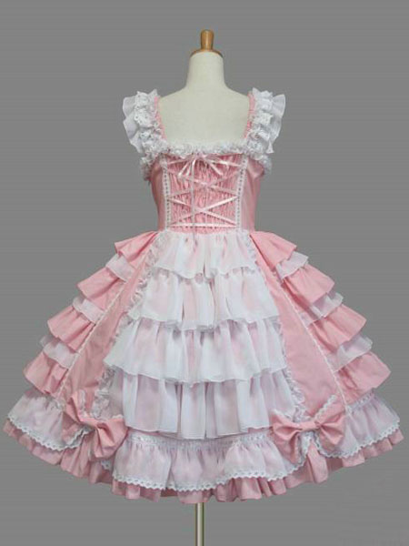 Sweet Lolita Dress Jsk Rococo Pink Cotton Lace Bow Ruffled