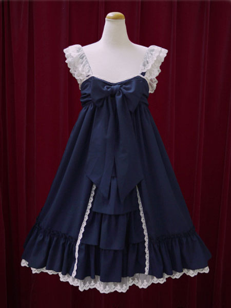 Classic Lolita Dress JSK Lace Cotton Two Tone Ruffled Bow Lolita Jumper Skirt