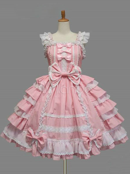 Buy Sweet Lolita Dress JSK Pink Cotton Lace Bow Ruffled Layered Lolita Jumper Skirt for $62.09 in Milanoo store