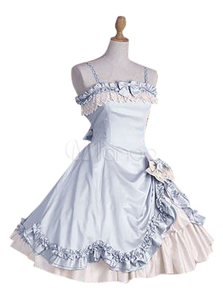 Buy Sweet Lolita Dress JSK Lace Bow Ruffled Spaghetti Strap Lolita Jumper Skirt Petticoat Included for $104.99 in Milanoo store