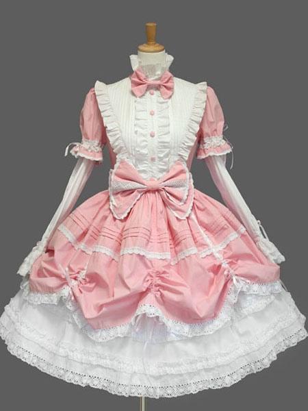 Sweet Lolita Dress Op Black High Collar Puff Long Sleeve