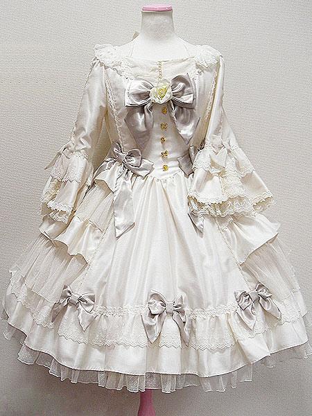 Gothic Lolita Dress Op Black Hime Long Sleeve Lace Ruffled