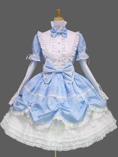 Sweet Lolita Dress Op Black High Collar Puff Long Sleeve