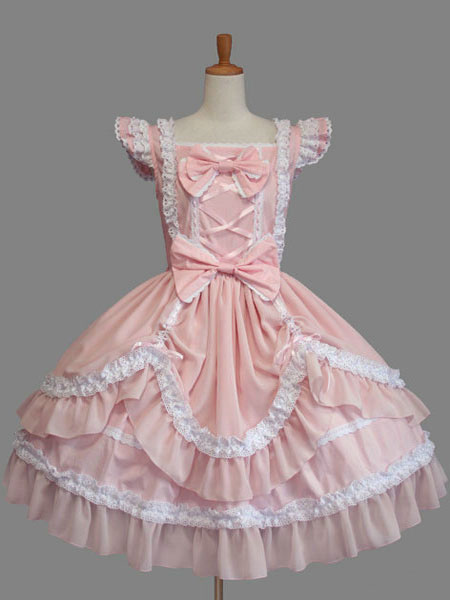 Buy Sweet Lolita Dress Pink Cotton Bow Lace Ruffled Cap Sleeve Lolita One Piece Dress for $92.69 in Milanoo store