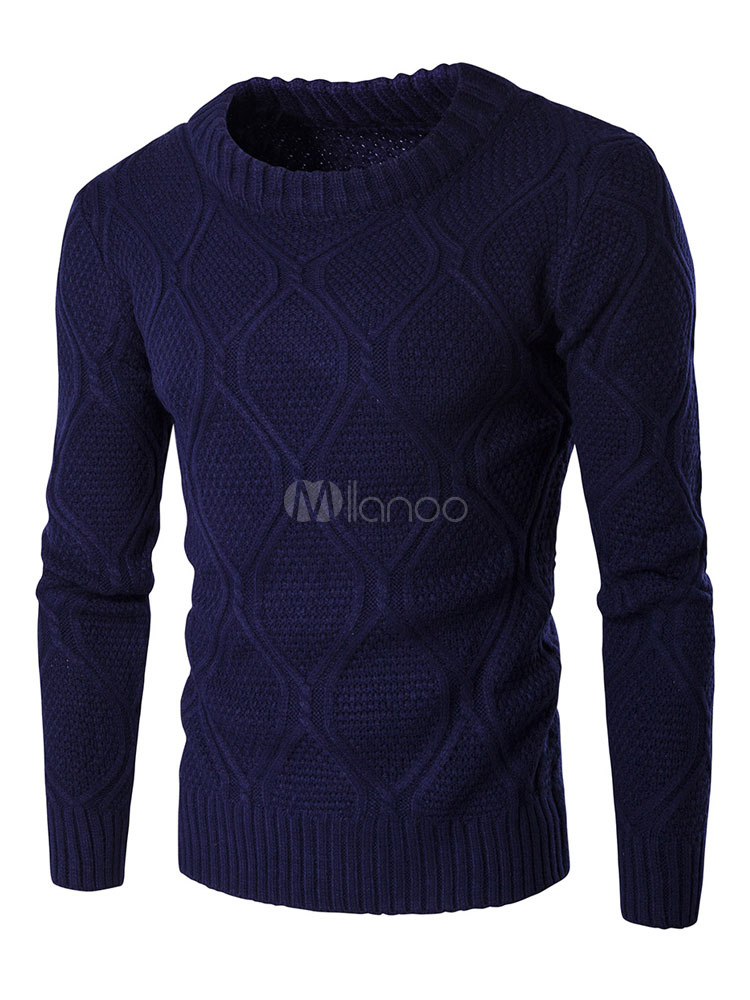 Buy Cable Knit Sweater Men's Round Neck Long Sleeve Pullover Sweater for $33.29 in Milanoo store