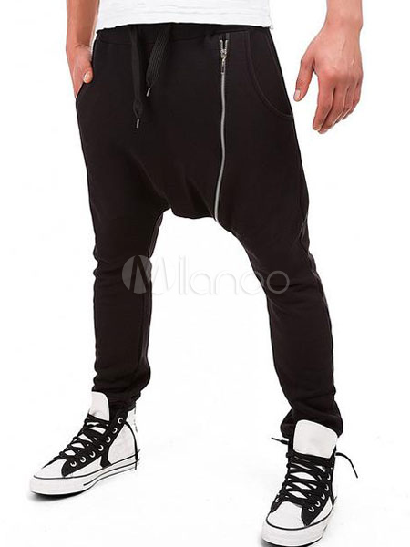 Black Harem Pants Drop Crotch Long Trousers For Men With Zipper