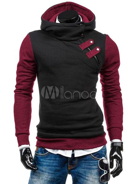 Buy Men's Pullover Hoodie Oblique Zipper Buckle Contrast Color Cotton Hoodie for $18.99 in Milanoo store