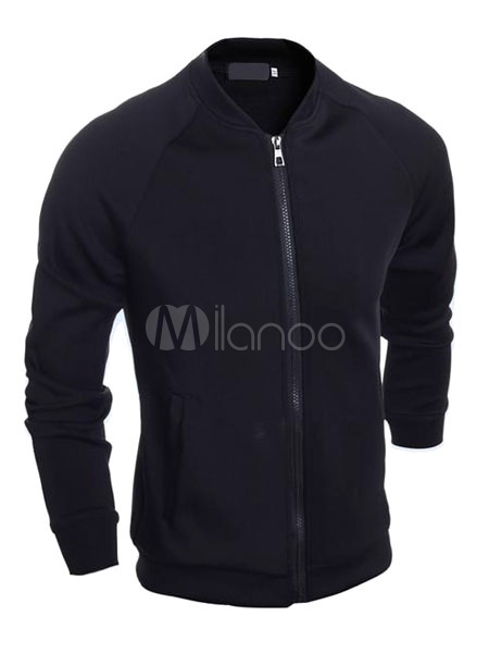 Buy Black Bomber Jacket Long Sleeve Front Zipper Cotton Short Jacket for $22.49 in Milanoo store