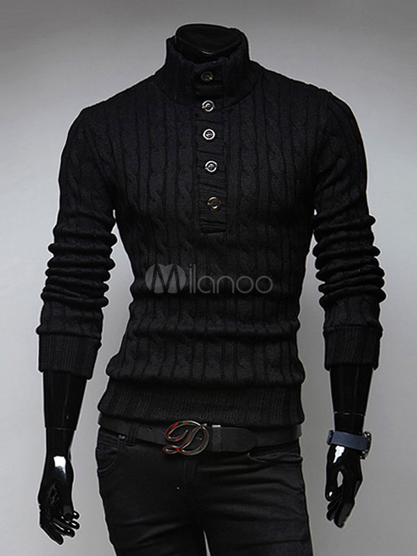 Black Pullover Sweater High Collar Half Buttons Cable Knitwear