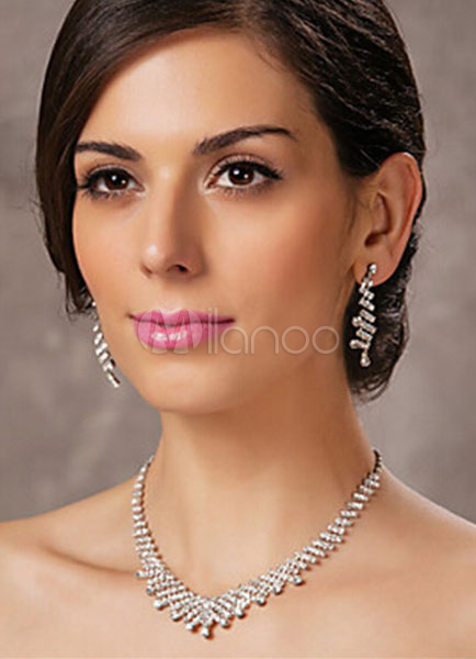 Silver Jewelry Sets Bridal Rhinestone Pierced Wedding Earrings With Charm Necklace