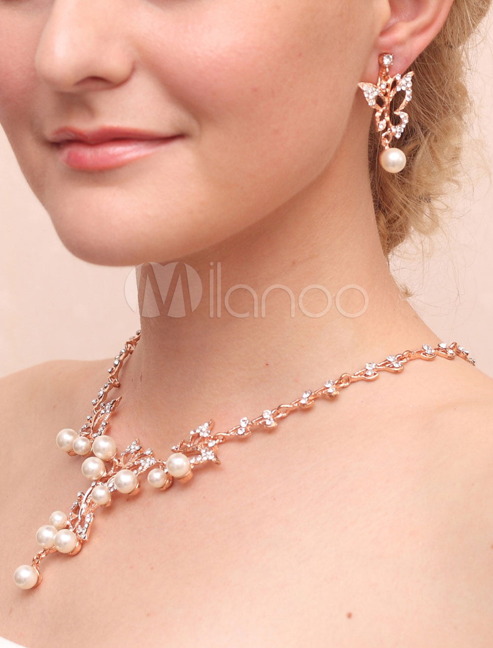 Bridal Jewelry Sets Pearl Rhinestone Butterfly Pierced Wedding Drop Earrings With Necklace