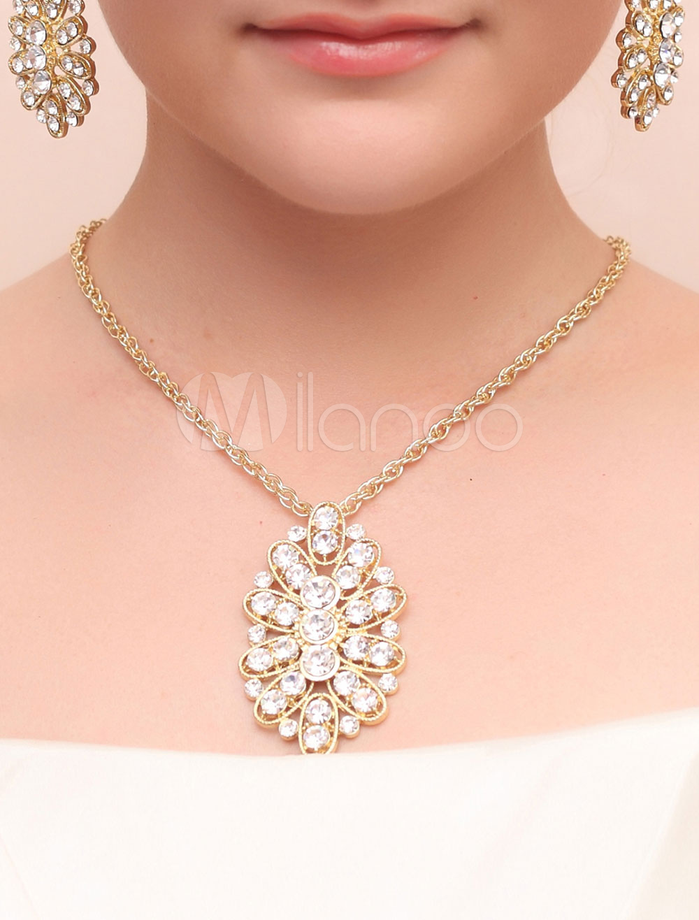 Bridal Jewelry Sets Gold Pierced Alloy Bridal Jewelry Sets With Pendent