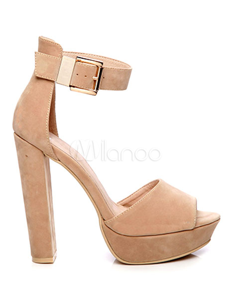 Buy Black Platform Sandals Women's Peep Toe High Heel Sandals Suede Ankle Strap Chunky Heel Platforms Shoes for $56.04 in Milanoo store