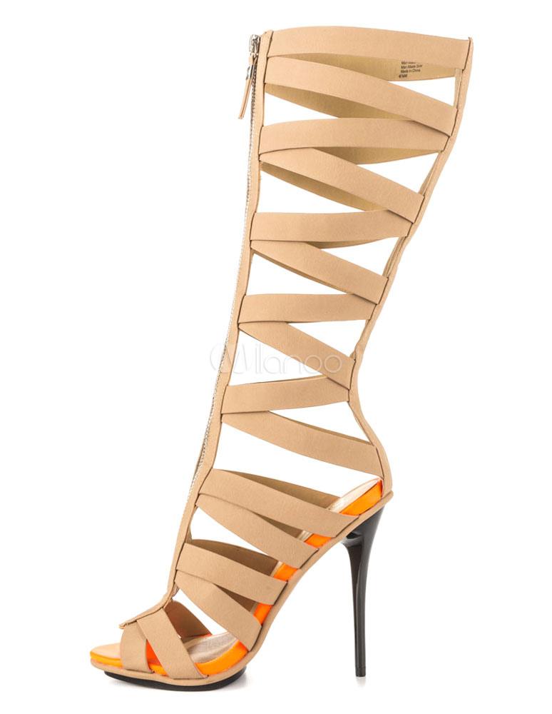 Women's Gladiator Sandals High Heel Peep Front Zipper Sandal Boots