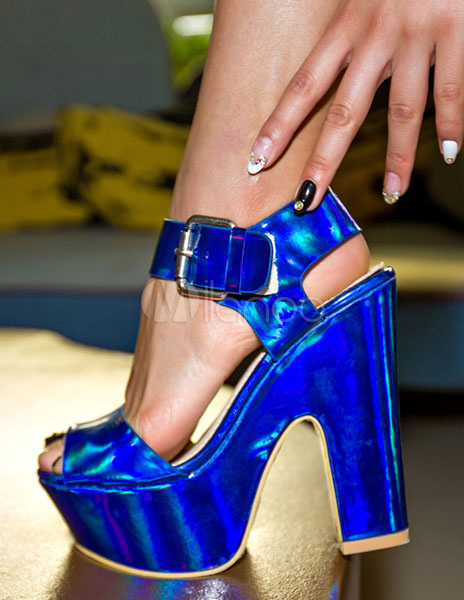 Peep Toe Platforms Blue High Heel Sandals Women's Ankle Strap Chunky Heel Laser Shoes