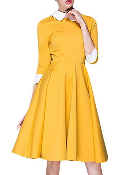 Shirt Dress Sleeve Yellow Vintage Dress 1950 Midi Dresses