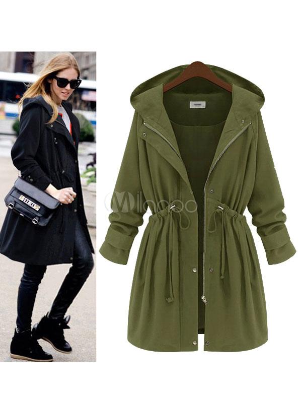Women Parka Jacket Black Hooded Long Sleeve Drawstring Waist Winter Coats Cheap clothes, free shipping worldwide