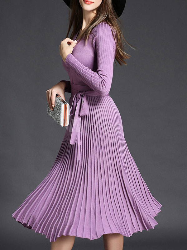 Pleated Sweater Dress Long Sleeve Women S V Neck Knit Wrap