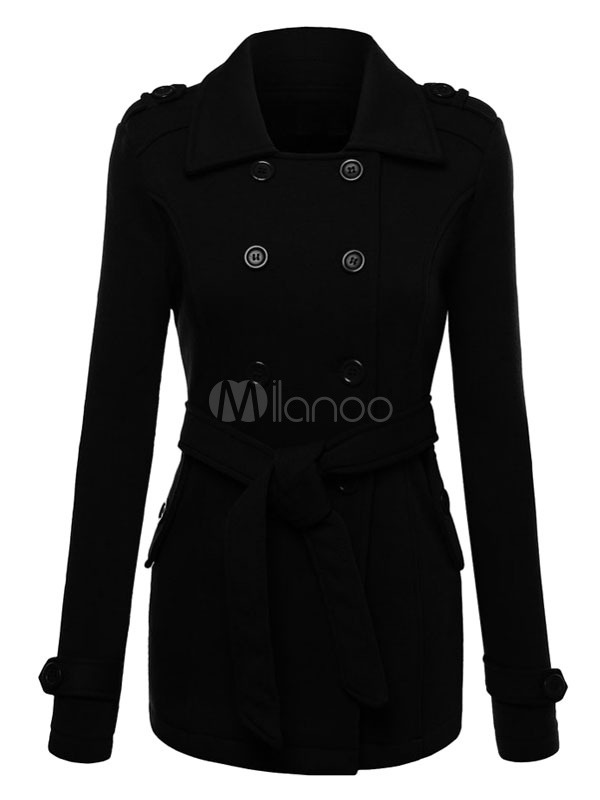 Women Black Peacoat Long Sleeve Double Breasted Turndown Collar Belt Overcoat Cheap clothes, free shipping worldwide