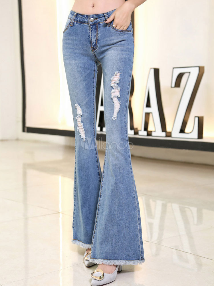 Women's Ripped Jeans Light Blue Slim Fit Flared Denim Jeans Cheap clothes, free shipping worldwide